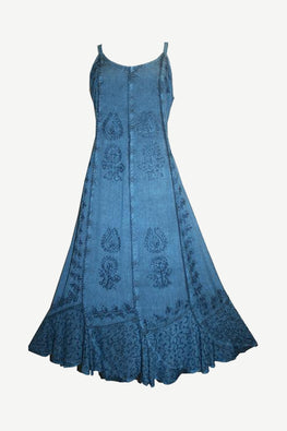 Rayon Embroidered Scalloped Hem Gypsy Spaghetti Strap Dress - Agan Traders, Blue