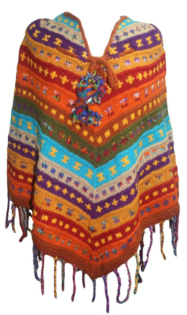 PN 200 Himalayan Thick Sheep Wool Hand Knitted Poncho (Agan Traders, PN 200 2)