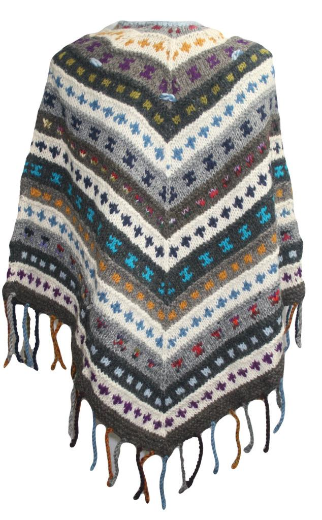 PN 200 Himalayan Thick Sheep Wool Hand Knitted Poncho (Agan Traders, PN 200 5)