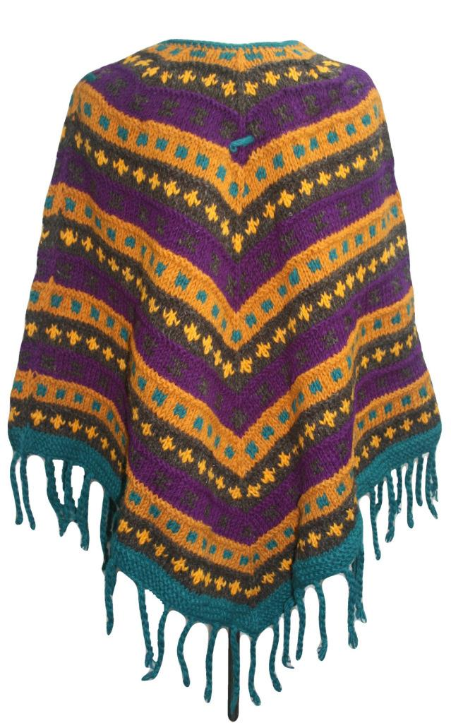 PN 200 Himalayan Thick Sheep Wool Hand Knitted Poncho (Agan Traders, PN 200 3)