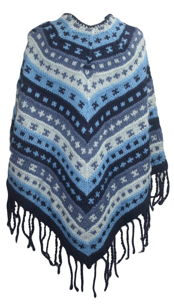 PN 200 Himalayan Thick Sheep Wool Hand Knitted Poncho (Agan Traders, PN 200 4)