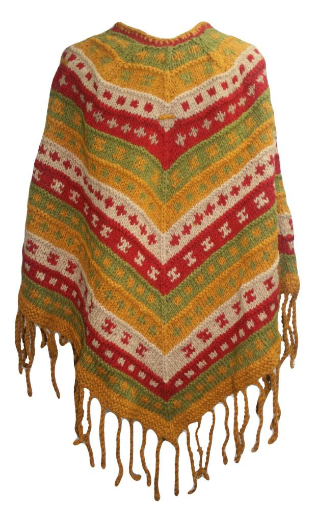PN 200 Himalayan Thick Sheep Wool Hand Knitted Poncho (Agan Traders, PN 200 6)