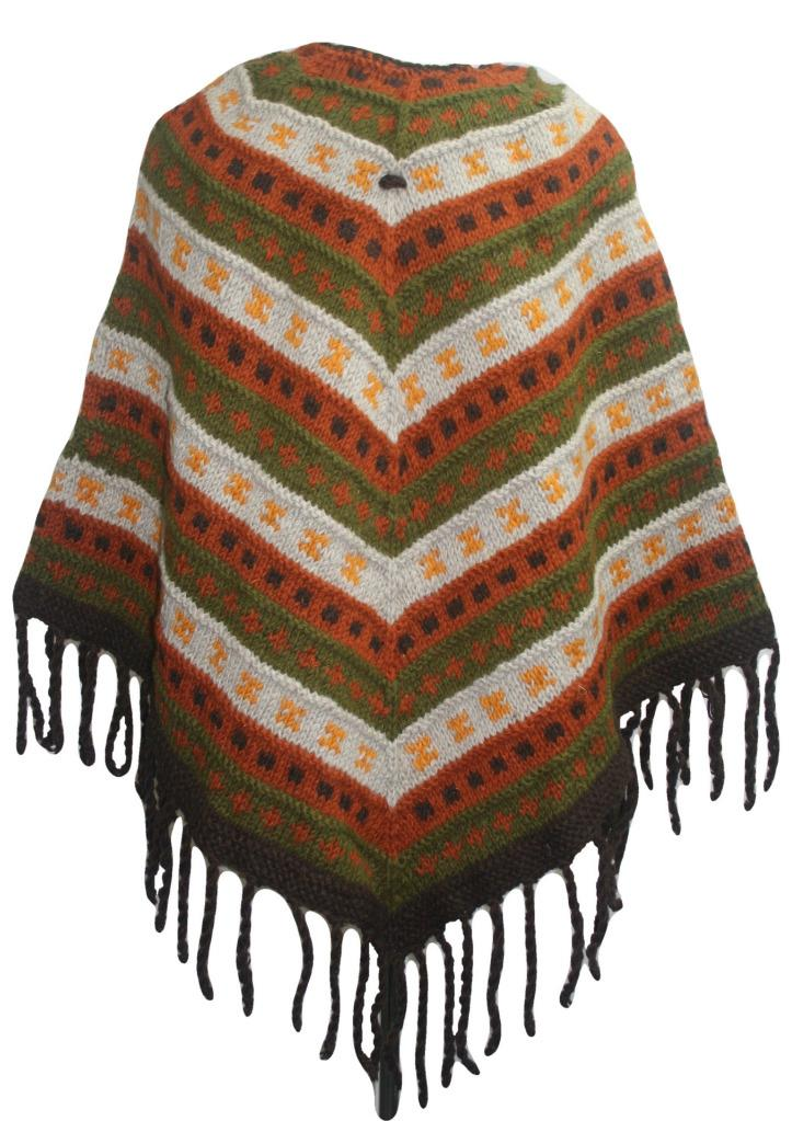 PN 200 Himalayan Thick Sheep Wool Hand Knitted Poncho (Agan Traders, PN 200 7)
