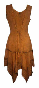 Gypsy Peasant Funky Asymmetrical Hem Short Dress - Agan Traders, Rust