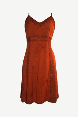 Mini Spaghetti Strap Baby Doll Mid Length Dress - Agan Traders, Orange Rust