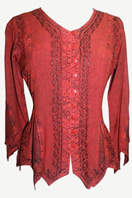 Gypsy Medieval Vintage Asymmetrical Net Renaissance Top Blouse - Agan Traders, B. Red
