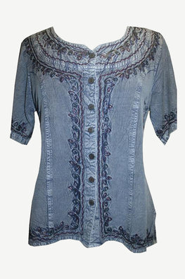 Gypsy Medieval Scoop Neck Embroidered Top Blouse - Agan Traders, Lilac