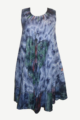 Butterfly Rayon Tie Dye Light Weight Umbrella Mid Length Dress One Size - Agan Traders, Navy Blue