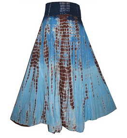 Convertible Ripple Tie Dye Unique Long Knit Cotton Skirt - Agan Traders, Navy Choco