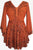 Medieval Butterfly Bell Sleeve Flare Blouse - Agan Traders, Orange Rust