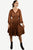 Medieval Roman Embroidered Bell Sleeve Flare Knee Length Baby Doll Dress - Agan Traders, Rust