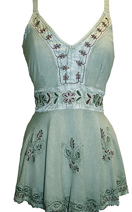 Medieval Gypsy Embroidered Spaghetti Strap Tank Top - Agan Traders, Sea Green