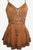 Medieval Gypsy Embroidered Spaghetti Strap Tank Top - Agan Traders, Rust