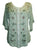 Scooped Neck Medieval  Embroidered Blouse - Agan Traders, Sea Green