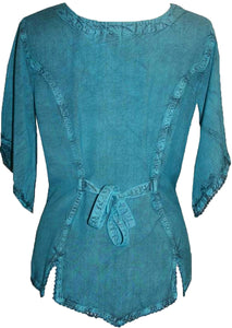 Scooped Neck Medieval  Embroidered Blouse - Agan Traders, Turquoise