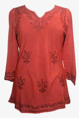 Embroidered Rayon Renaissance Blouse - Agan Traders, Burgundy Red