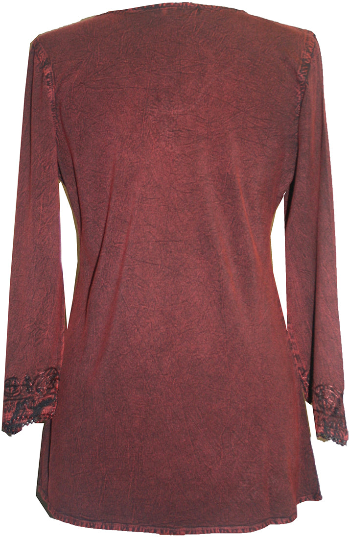 Embroidered Rayon Renaissance Blouse - Agan Traders, Wine Burgundy