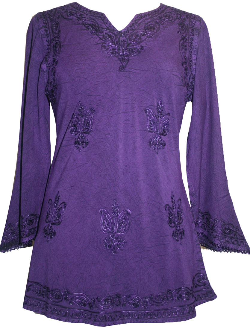 Embroidered Rayon Renaissance Blouse - Agan Traders, Purple