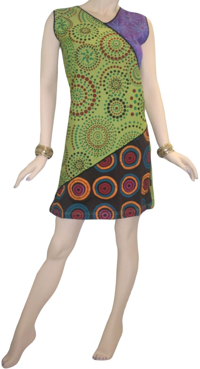 RD 12 Agan Traders Nepal Bohemian Knit Light Weight Cotton Mid Length Summer Dress - Agan Traders, RDR Multi 12