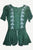 Gypsy White Embroidered Floral Medieval Renaissance Top Blouse - Agan Traders, Hunter Green