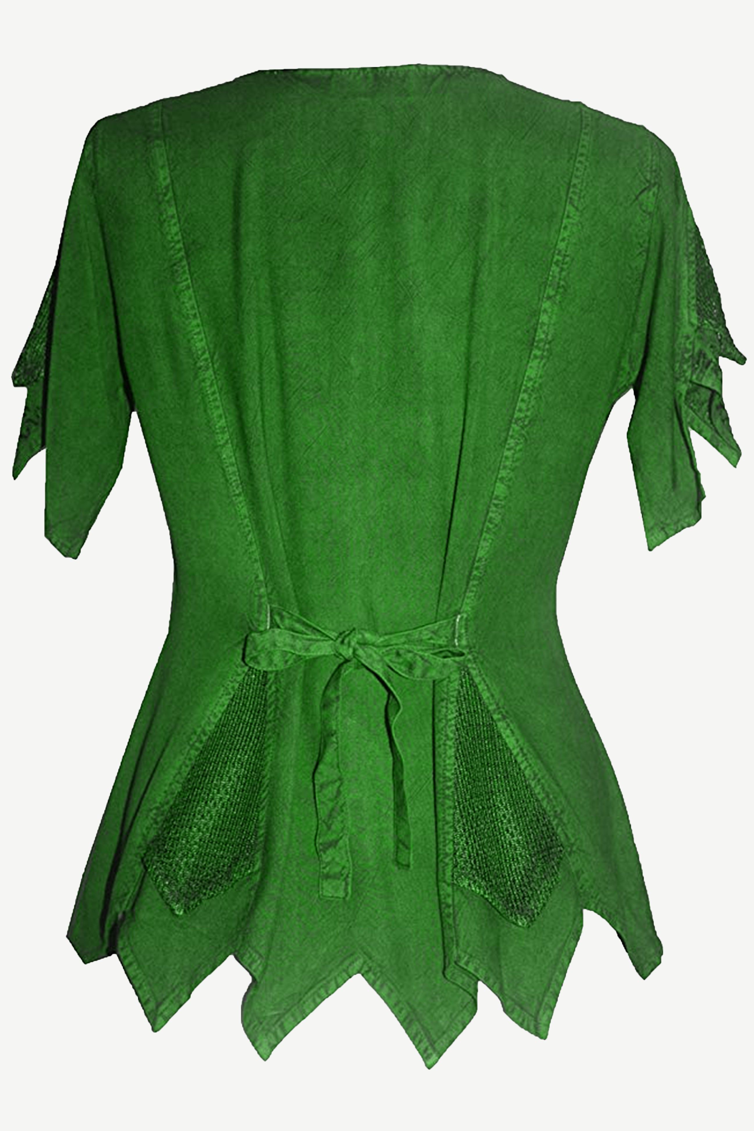 Gypsy Medieval Netted Asymmetrical Vintage Top Blouse - Agan Traders, E Green