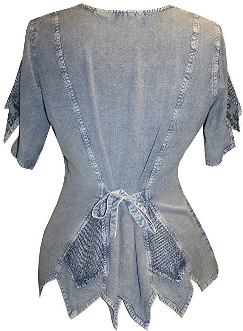 Gypsy Medieval Netted Assymetrical Vintage Top Blouse - Agan Traders, Lilac C