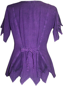 Gypsy Medieval Netted Assymetrical Vintage Top Blouse - Agan Traders, Purple