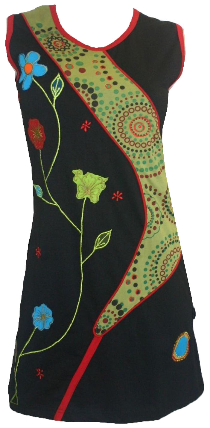 RD 13 Agan Traders Nepal Bohemian Knit Light Weight Cotton Mid Length Summer Dress - Agan Traders, RDR Multi 13