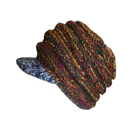 Multi-colored Knit Blended Wool Berate Chaki Peak Cap - Agan Traders, 1417 H3