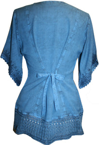 Medieval Rennaissance Peasant Gypsy Ari Lace Blouse Top - Agan Traders, Teal Blue