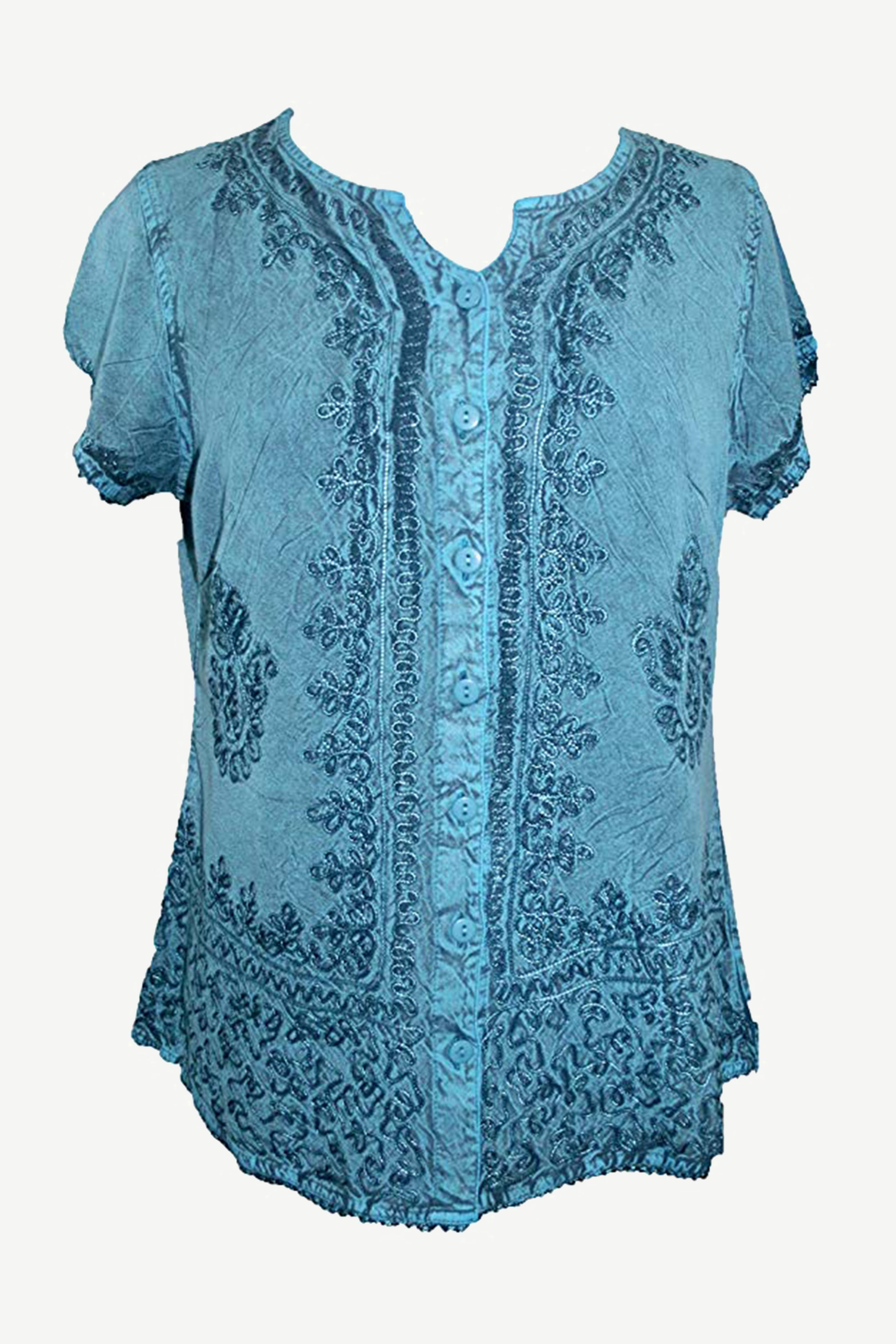 f3a753ddfd 144 B Medieval Embroidered Button Down Cap Sleeve Shirt Blouse ...