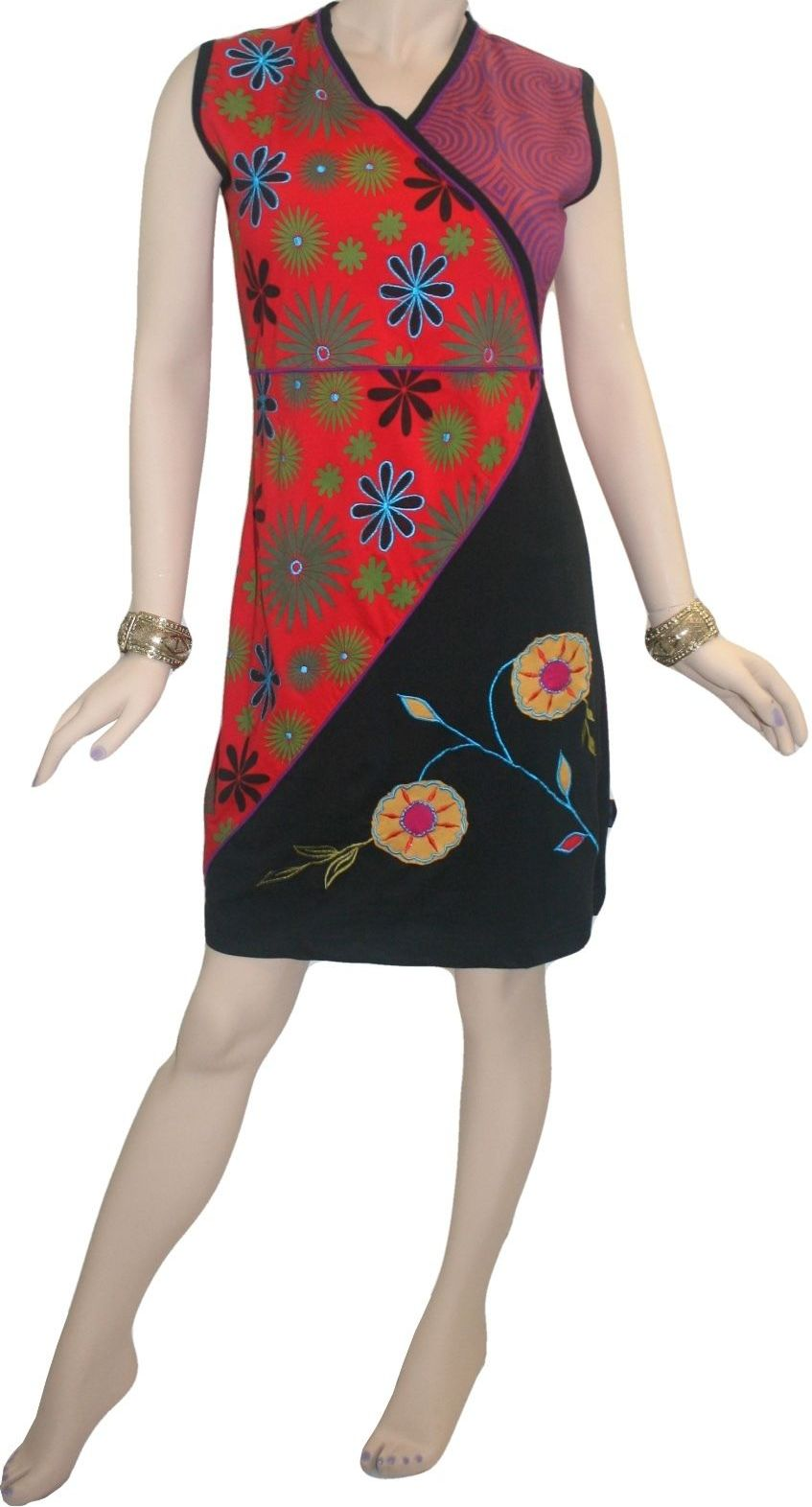 RD 14 Agan Traders Nepal Bohemian Knit Light Weight Cotton Mid Length Summer Dress - Agan Traders, RDR Multi 14