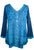 Medieval Victorian Gothic embroidered button down sheer lace sleeve blouse - Agan Traders, Blue