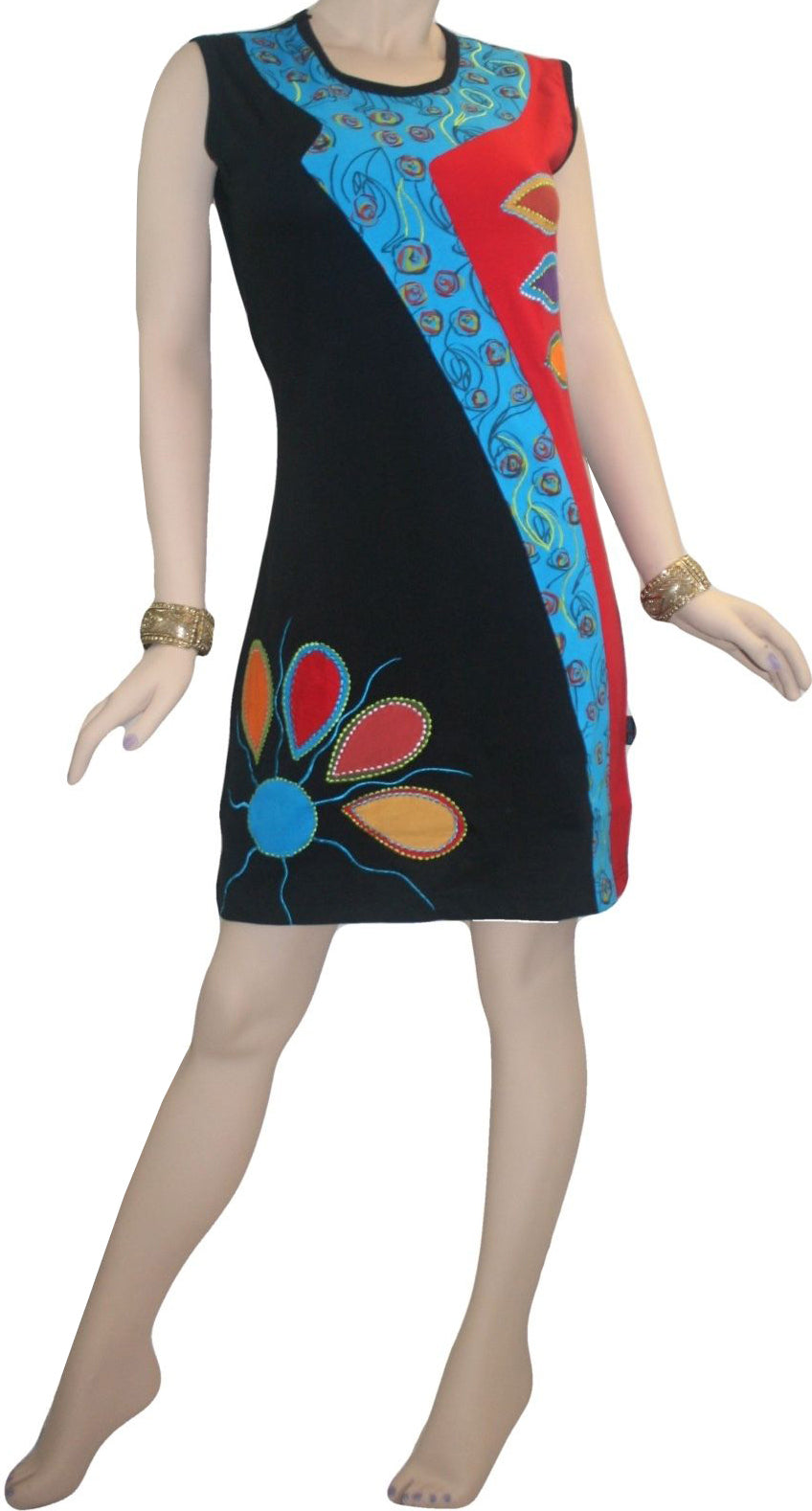RD 15 Agan Traders Nepal Bohemian Knit Light Weight Cotton Mid Length Summer Dress - Agan Traders, RDR Multi 15