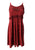 186017 DR Bohemian Spaghetti Strap Embroidered Smocked Elastic Mid Calf Sun Dress - Agan Traders, B red