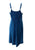 186017 DR Bohemian Spaghetti Strap Embroidered Smocked Elastic Mid Calf Sun Dress - Agan Traders, Blue
