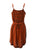 186020 DR Bohemian Medieval Spaghetti Strap V-Neckline Mid Calf Dress - Agan Traders, Orange Rust