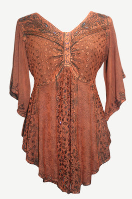 186026 B Medieval Butterfly Embroidered Beaded Bell Sleeve Top Blouse Tunic - Agan Traders, Orange Rust