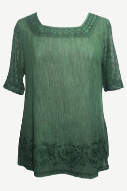 186028 B Vintage Square Neck Sheer Crape Lace Blouse Top - Agan Traders, E Green