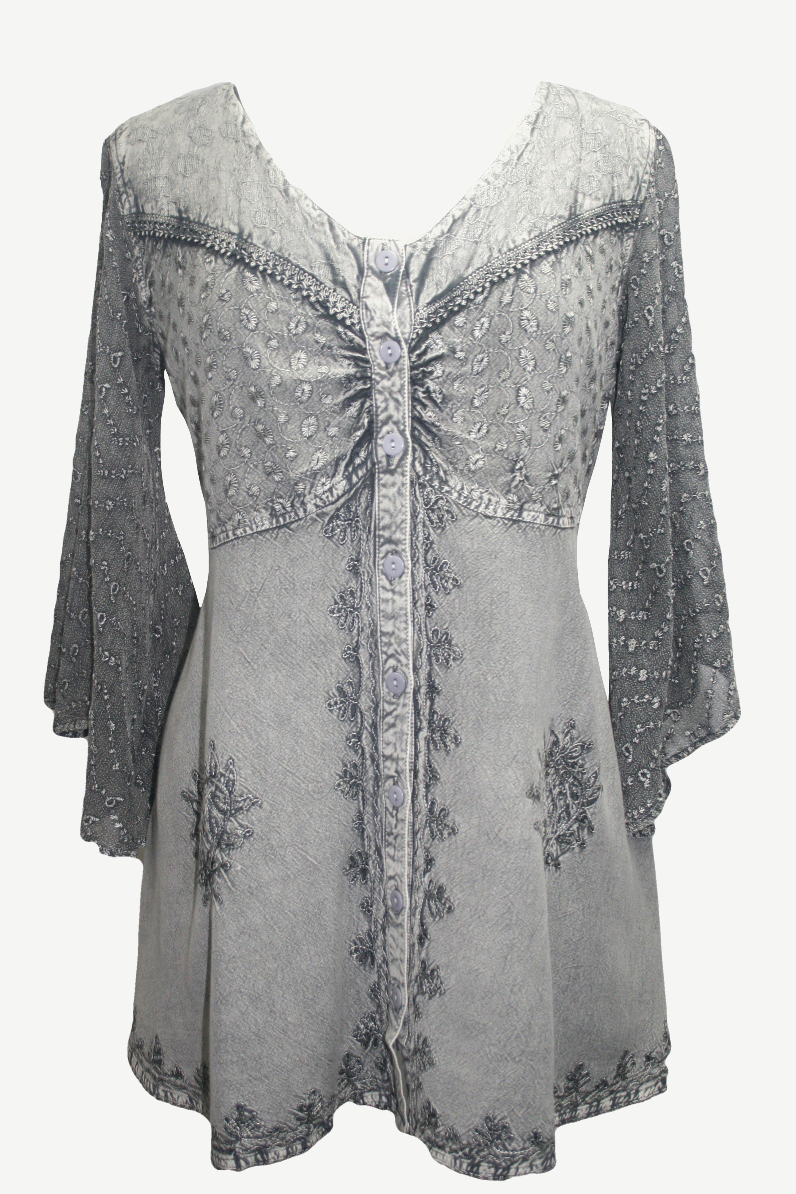 18607 B Medieval Gothic Embroidered Button Down Sheer Lace Sleeve Top Blouse - Agan Traders, Silver