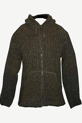 Lamb's Wool Fleece Winter Sherpa Hoodie Sweater Outdoor Jacket - Agan Traders, Brown