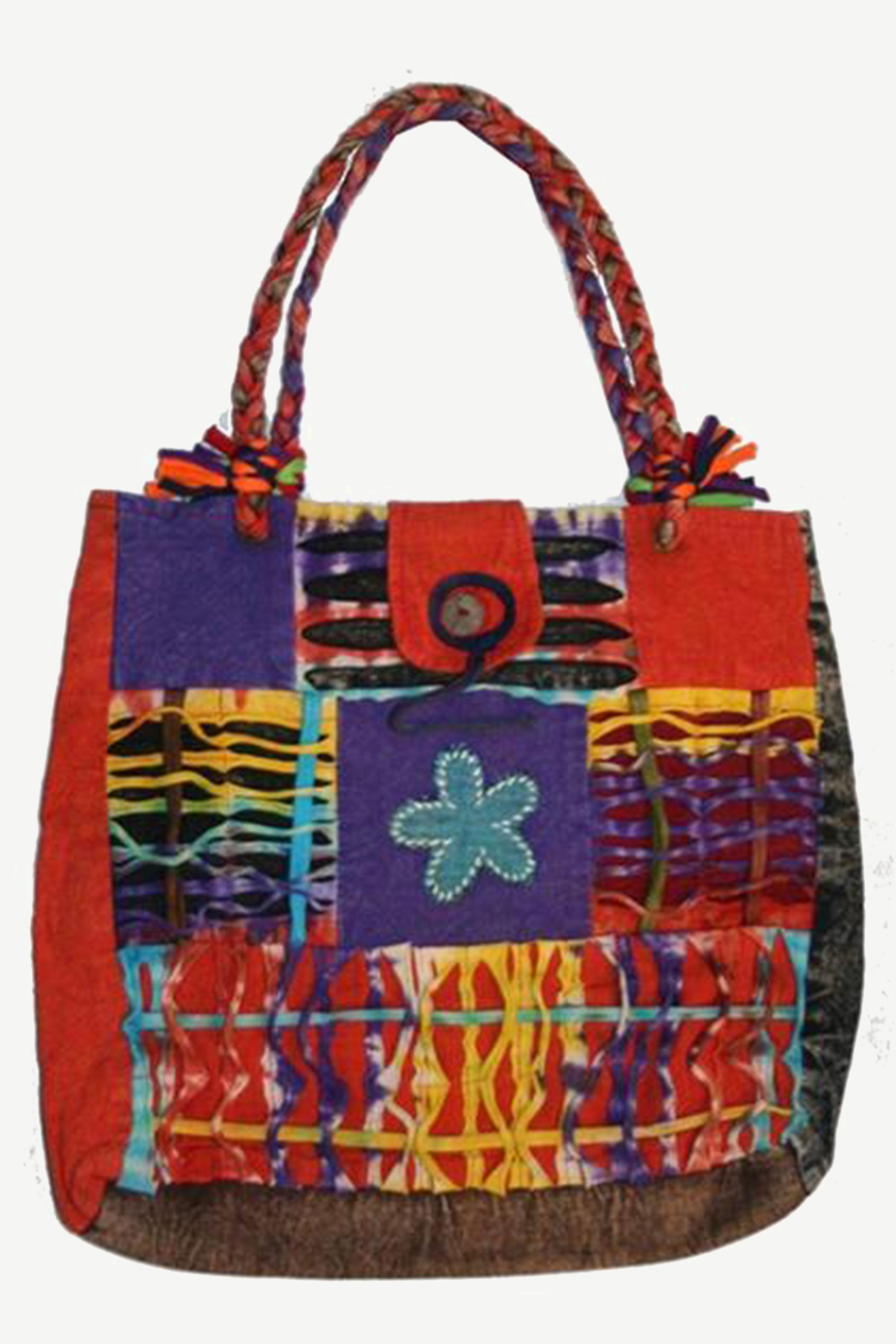 Colorful Patchwork Short handle Bohemian Gypsy Tote Bag - Agan Traders