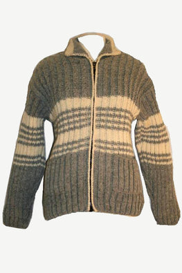804 Wool Fleece Lined Sherpa Knitted Jacket Sweater