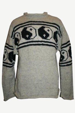 WJ 02 Wool Ying Yang Warm Sweater Hand Knitted in Nepal - Agan Traders