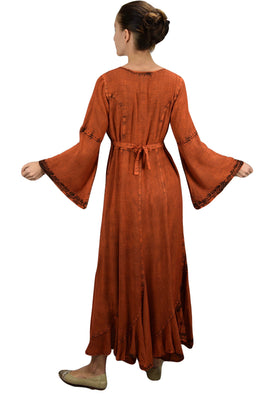 Peasant Embroidered Bell Sleeve Scalloped Hem Dress Gown - Agan Traders, Orange Rust
