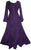Peasant Embroidered Bell Sleeve Scalloped Hem Dress Gown - Agan Traders, Purple