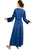 Renaissance Gothic Velvet Corset Embroidered Dress Gown - Agan Traders, Navy