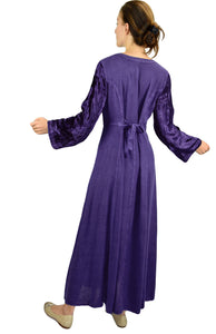 Renaissance Gothic Velvet Corset Embroidered Dress Gown - Agan Traders, Purple