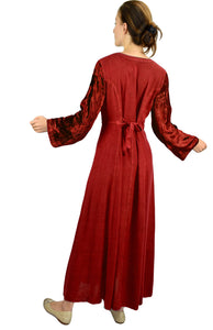Renaissance Gothic Velvet Corset Embroidered Dress Gown - Agan Traders, Burgundy