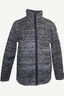 UFM 21 Blended Wool Fleece Lined Hand Knitted Sherpa Jacket